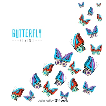 Butterfly group flying background
