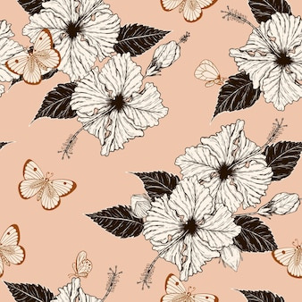 Butterfly and hibiscus seamless pattern by hand drawing.