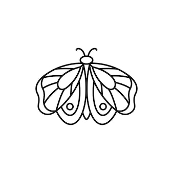 선형 최소 트렌드 스타일의 나비 아이콘입니다. 미용실, 매니큐어, 마사지, 스파, 문신 및 손으로 만든 마스터를 위한 벡터 선형 곤충 로고.
