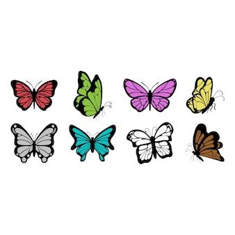 蝶のアイコンセット昆虫イラストテンプレート分離