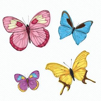 白い背景の上の蝶のアイコン(コレクションセット)