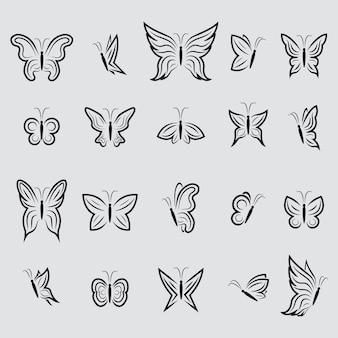 Butterfly icons collection