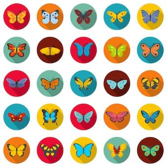 蝶のアイコンセット、フラットスタイル