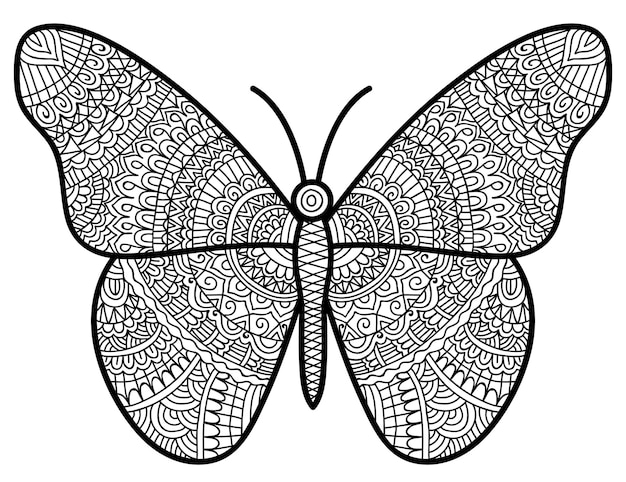 Butterfly illustration colouring book page for adult and children