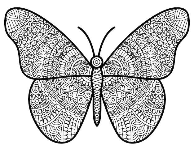Раскраска иллюстрация бабочки для взрослых и детей