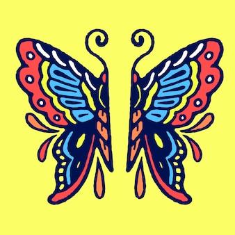半分の古い学校の入れ墨のベクトルの蝶