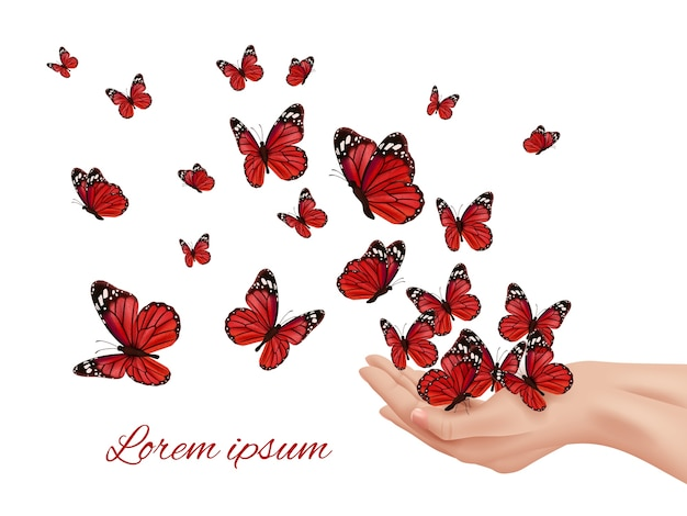 손에 나비. 비행 날개 빠삐용 farfalle 군주 많은 색깔의 나비 벡터 개념. 인간의 손 그림에서 비행하는 곤충