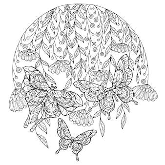 庭の蝶。大人の塗り絵の手描きスケッチイラスト。