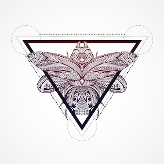 Butterfly inside of a triangle background