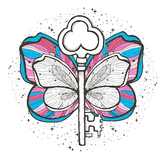 Butterfly and key magic illustration
