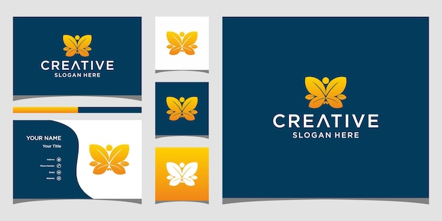 名刺テンプレートと蝶の葉のロゴデザイン