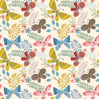 Butterfly and leaf seamless pattern.