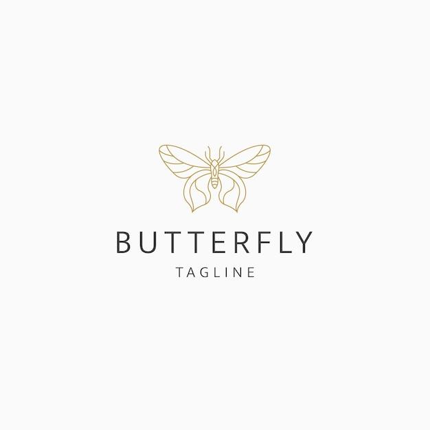 蝶の線画エレガントな高級ロゴアイコンデザインテンプレートフラットベクトル