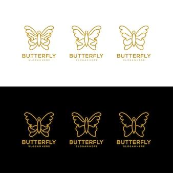 Butterfly line art logo design