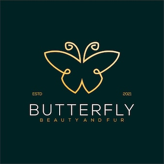 Butterfly line art logo luxury illustration