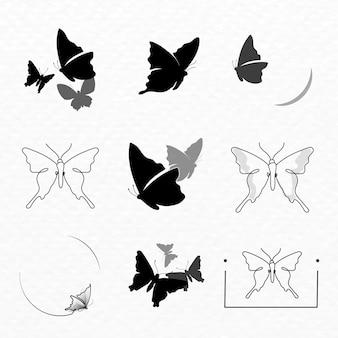 나비 로고 배지, 검은 미적 벡터 평면 디자인 모음