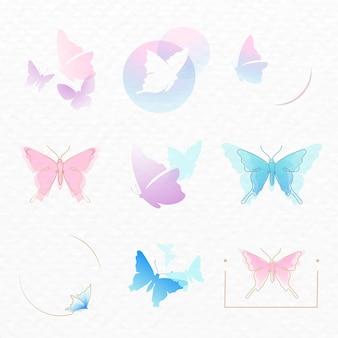 蝶のロゴバッジ、パステル美的ベクトルフラットデザインセット