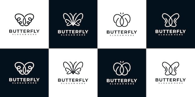 Butterfly logo collection with line art style
