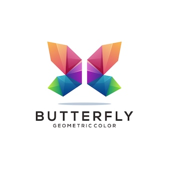 Butterfly logo colorful geometric origami gradient