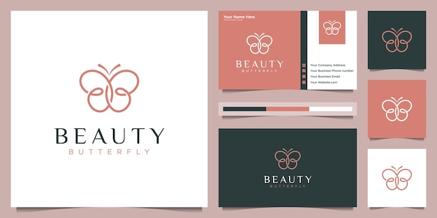 Butterfly logo design and business card. beauty logo concept with infinity loop liner style.