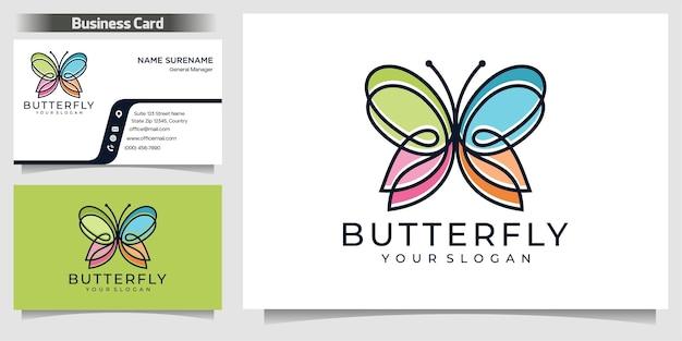 線画と蝶のロゴのデザインテンプレート