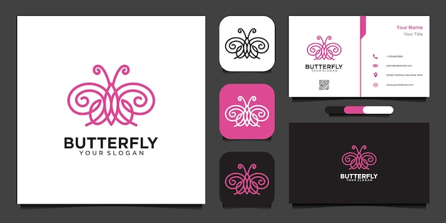 Butterfly logo design template with line and business card
