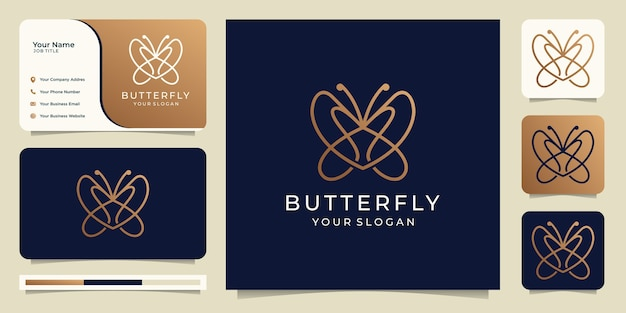 Butterfly logo design with business card.line art style logo template.