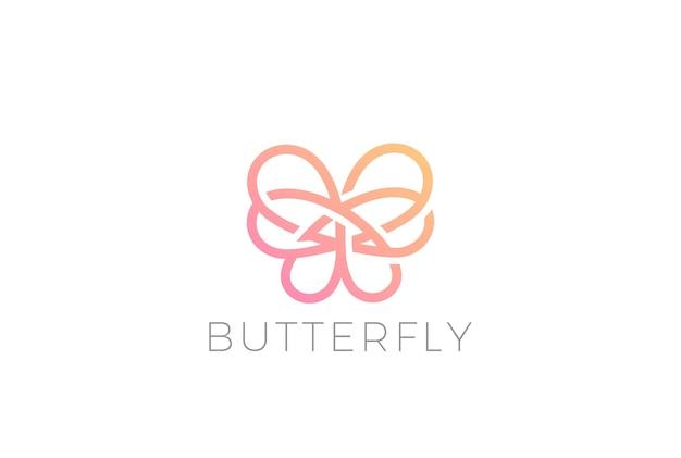 蝶のロゴのアイコン。線形スタイル