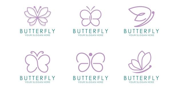 Butterfly logo icon set. luxury line logotype design. universal premium butterfly symbol logotype.