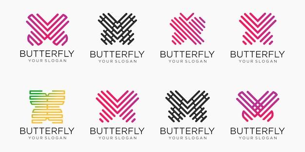 蝶のロゴのアイコンを設定します。ラグジュアリーラインのロゴタイプデザイン。ユニバーサルプレミアムバタフライシンボルロゴタイプ。