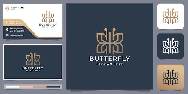 Butterfly logo inspiration with business card template. butterfly logo line art modern design.