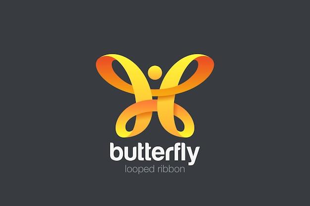 Butterfly logo ribbon loop design. beauty fashion luxury logotype.