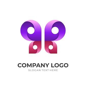Шаблон логотипа бабочка с 3d-стилем фиолетового и красного цвета