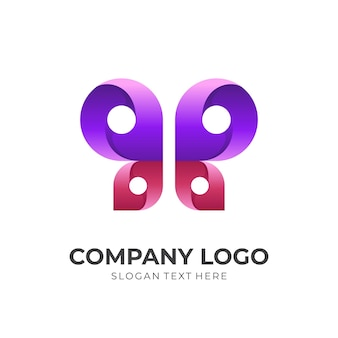 Butterfly logo template with 3d purple and red color style