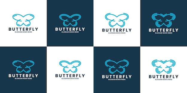 Butterfly logo vector line outline mono line icon illustration