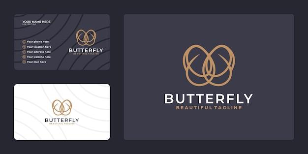 명함 서식 파일이 있는 나비 로고. 미용 산업, 살롱, 스파, 화장품 패키지 라벨링, 부티크 로고.