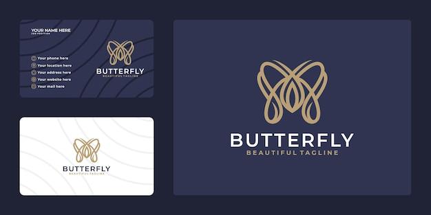 名刺テンプレートと蝶のロゴ。美容業界、サロン、スパ、化粧品パッケージのラベリング、ブティックのロゴ。