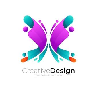 カラフルなデザインのベクトル画像と蝶のロゴ
