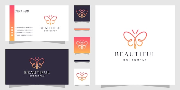 Butterfly logo with initial letter bb and minimalist line art style