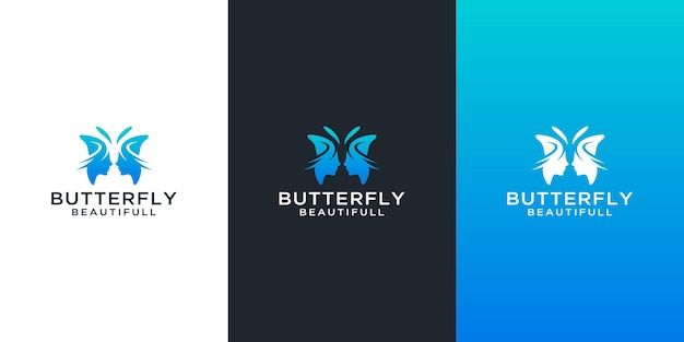 Butterfly logos set with abstract beauty woman face design