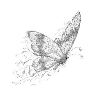 白い背景の上の蝶の低ポリワイヤーフレーム分離黒