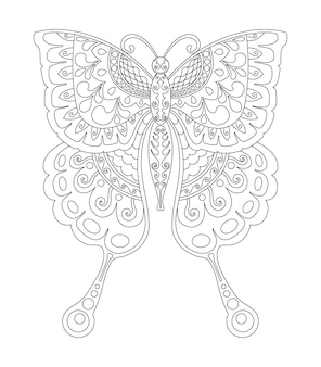 Butterfly mandala design for coloring page print