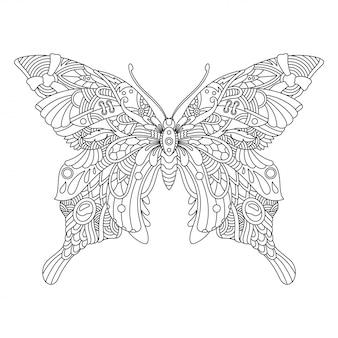 大人のぬりえの装飾用蝶マンダラ