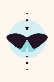 Butterfly minimalist boho element poster template.