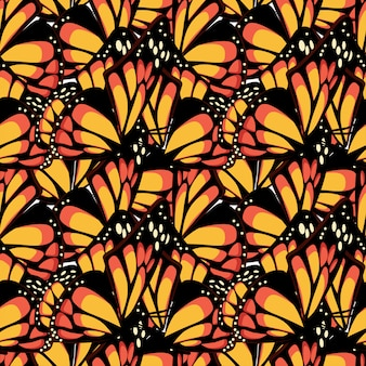 Butterfly monarch with macro textured wings seamless pattern.