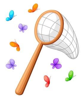 Сетка для бабочек и красочные бабочки. классическая сетка, деревянная ручка. иллюстрация на белом фоне.