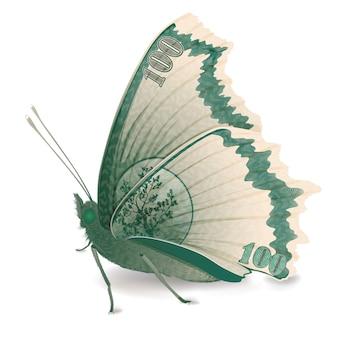 百ドル札の蝶