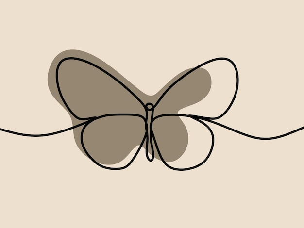 Butterfly oneline continuous line art