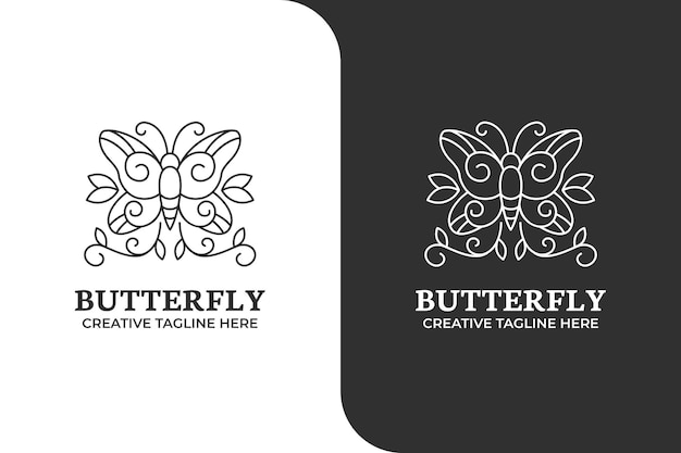 Butterfly ornament monoline logo business