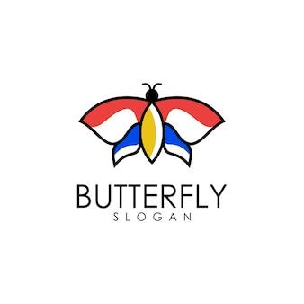Butterfly outline logo Premium Vector